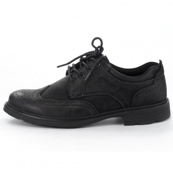 Мъжки обувки естествена кожа Runners, RNS-152-48154, черен
