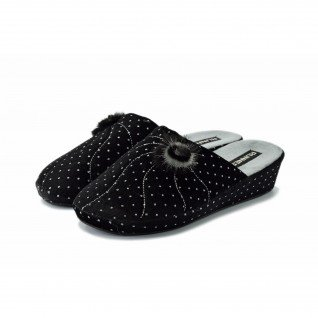 Woman home slippers Runners, 160312, black