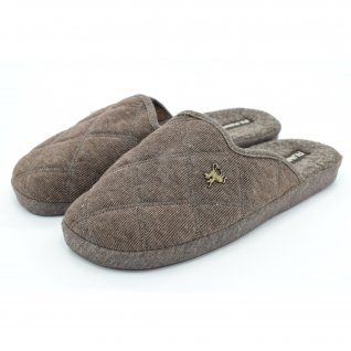 Men home slippers Runners, AM-150275, brown