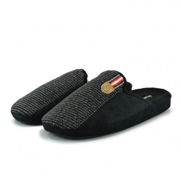 Men home slippers Runners, AM-170284-1, black