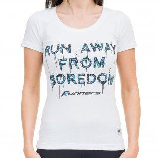 Woman t-shirt RUNNERS RUN AWAY, blue
