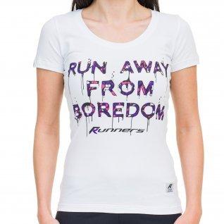Woman t-shirt RUNNERS RUN AWAY, purple