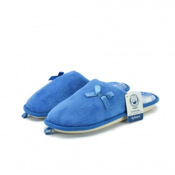 Woman home slippers Defonseca, BARI TOP W204, blu medio